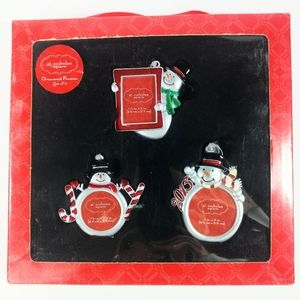 Set of 3 Snowmen Hanging Picture Frame Ornaments